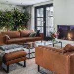 Luxe woonkamer interieur, Studio Robin Sluijzer, Stoer, Groen, Open haard