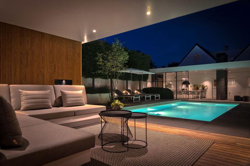 design tuin, knops tuindesign, zwembd, openhaarden, the art of living