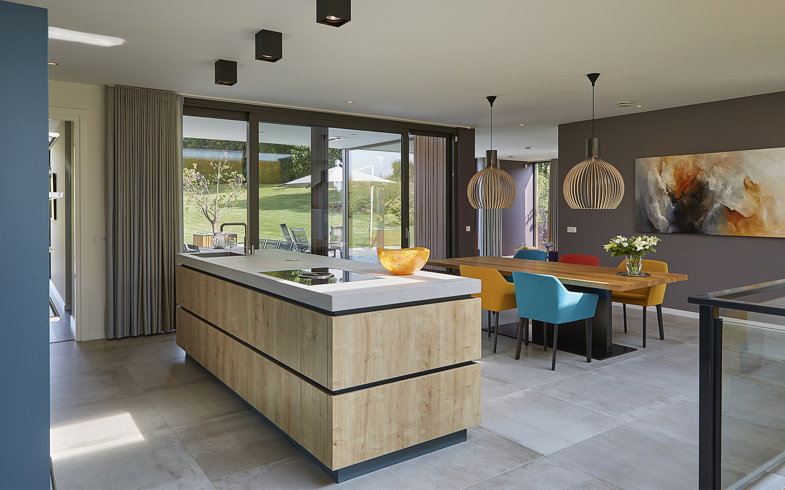 Moderne stijl, 3D visie, Modern, Minimalistische woning, Houtelementen, Keuken, Strak, Kleurrijkinterieur