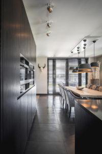 Interieur design, Linda Lagrand, Keuken, Leefkeuken, Sfeervol, Eettafel, Maretti Lightning, Haard, Maatwerk, Strak, Modern, Stijlvol