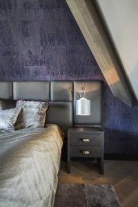 Interieur design, Linda Lagrand, Master bedroom, Slaapkamer, Luxe, Stijlvol, Bed, Nachtkastje, Details, Wandbekleding