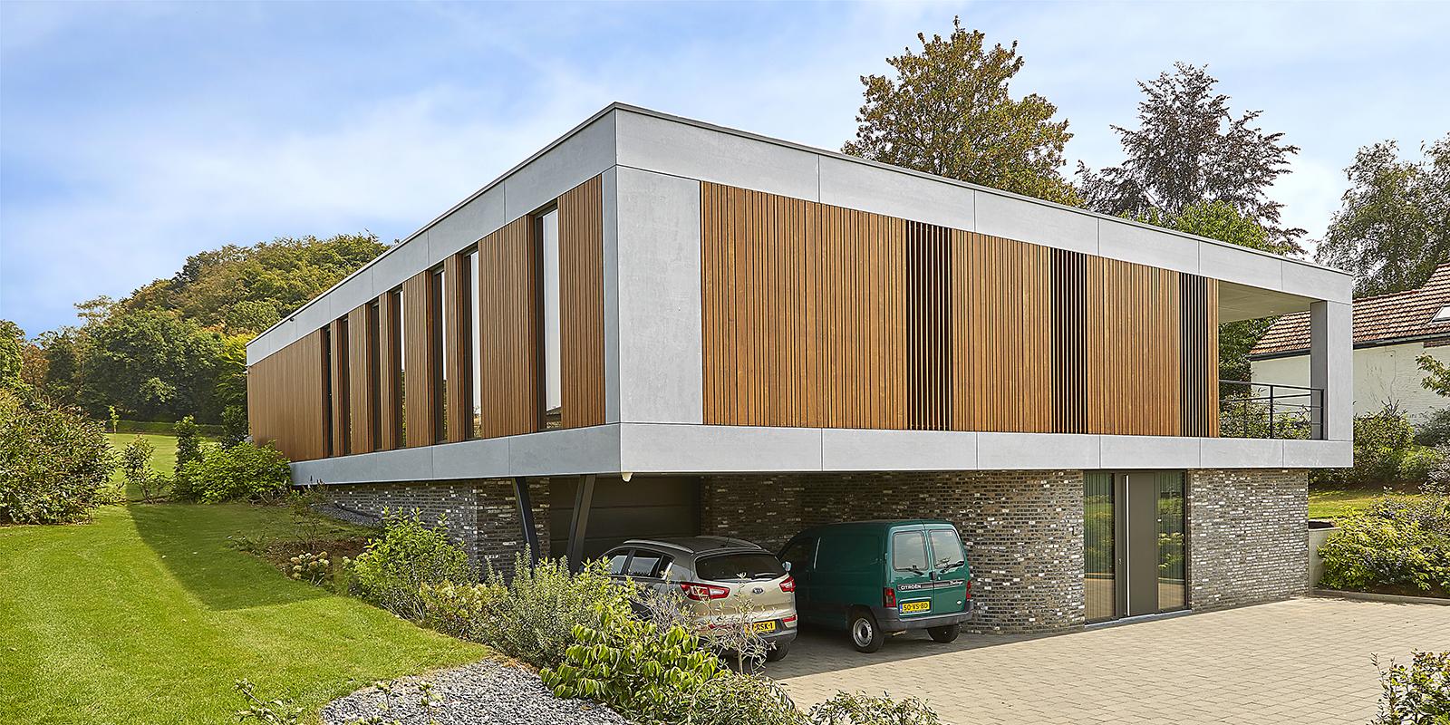 Moderne stijl, 3D visie, Modern, Minimalistische woning, Houtelementen, Strak, Exterieur, Beton, Schrijnwerk, Natuurschoon, Landgoed