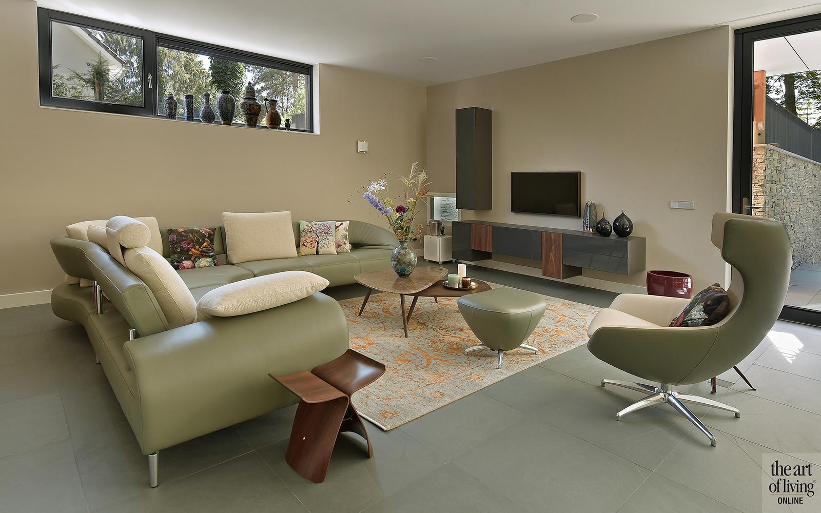 Nieuwbouw villa, Strategie Architecten, Woonkamer, Design meubels, Interieur design, Gezellig interieur, leistenen vloer, interieur op maat, buro bogaarts