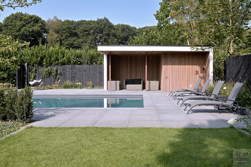 Strak modern exterieur, Maas Architecten, Zwembad, Buitenzwembad, Poolhouse, Lounge, Tuin, Bostuin