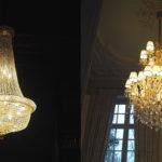 Kroonluchters in kasteel, Haagsche kunsthandel, kroonluchter, luxe verlichting