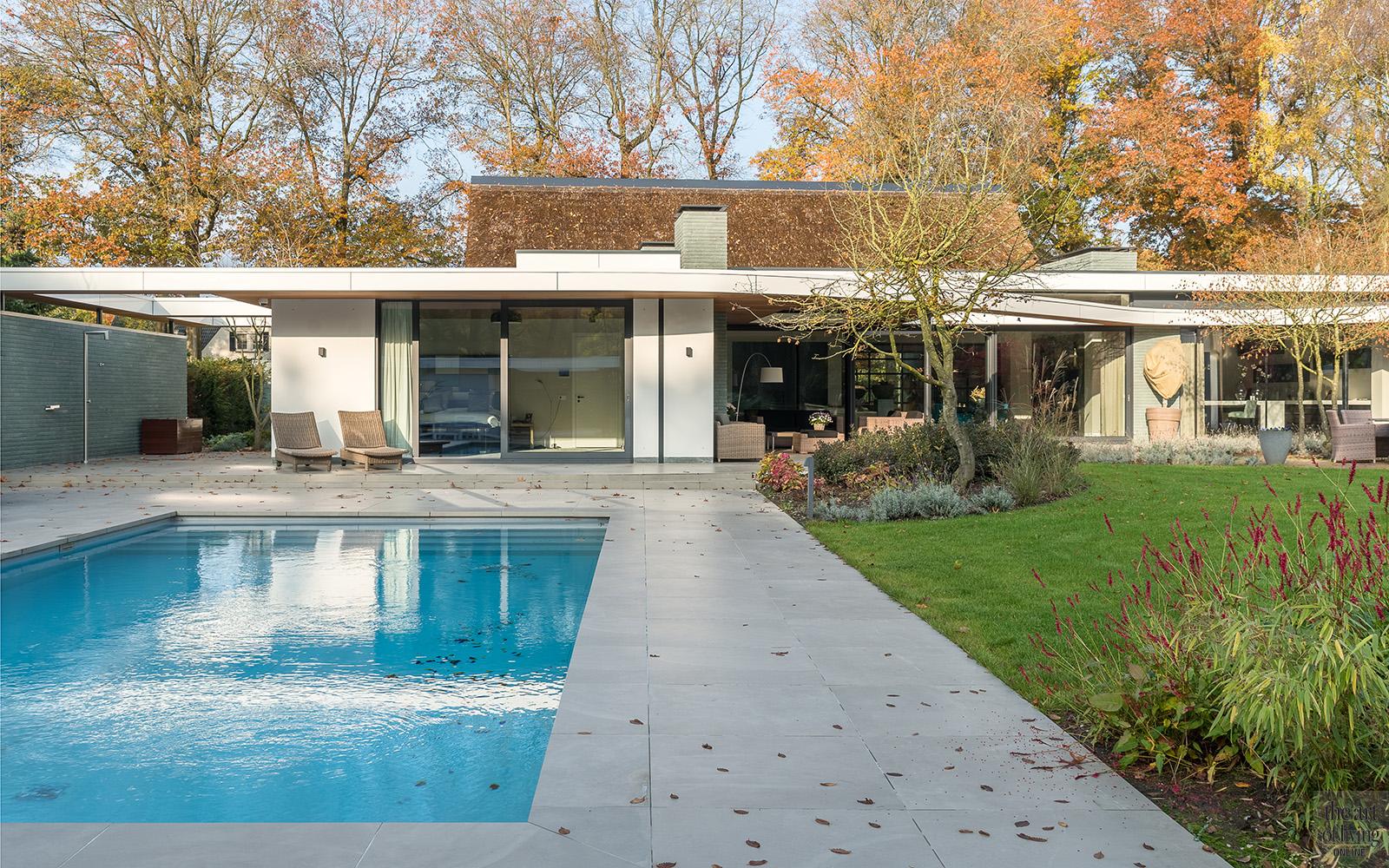 Natuurlijke materialen, Drijvers, Buitenzwembad, Zwembad, tuin, Exterieur, Tuin design, Moderne tuin, Rieten dak, Moderne woning, Moderne villa