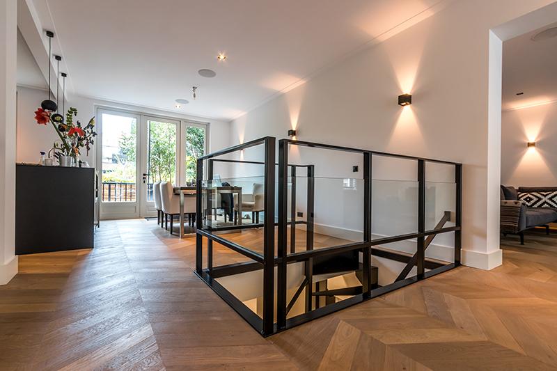 Stalen trap, Van Bruchem Staircases, appartement Amsterdam, , industriële look