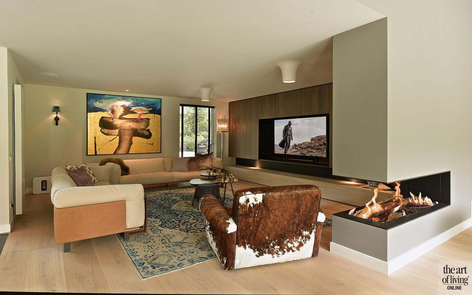 Moderne villa, Drijvers, Interieur, Exterieur, Moderne Architectuur, Villa, Modern interieur, Woonkamer, Livingroom, Design Meubels, Home cinema, Thuisbioscoop