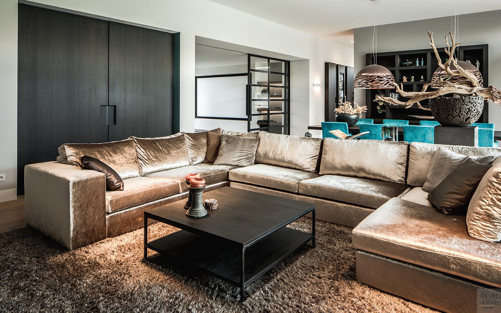 Natuurlijke materialen, Drijvers, Livingroom, Alphenberg, Velours bank, Lounge, Design interieur, Interieur