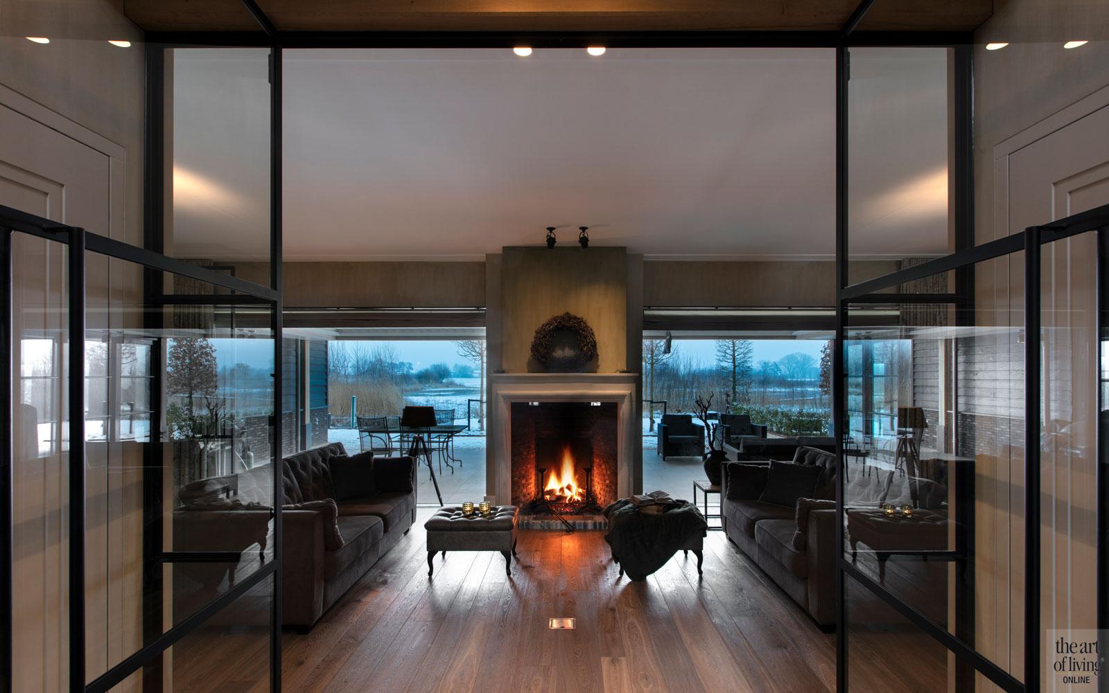Klassiek modern interieur, AA+ Ontwerpbureau, Villa, Natuurgevelsteen, Zwembad, Openhaard