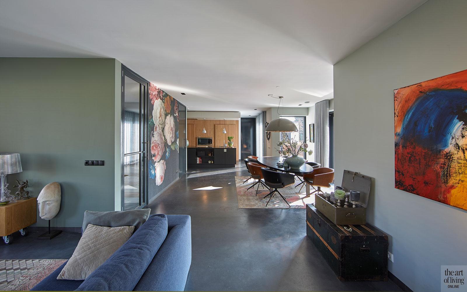 Moderne woning, CS2 Architecten, Woonkamer, Modern interieur, Gietvloer, warm interieur