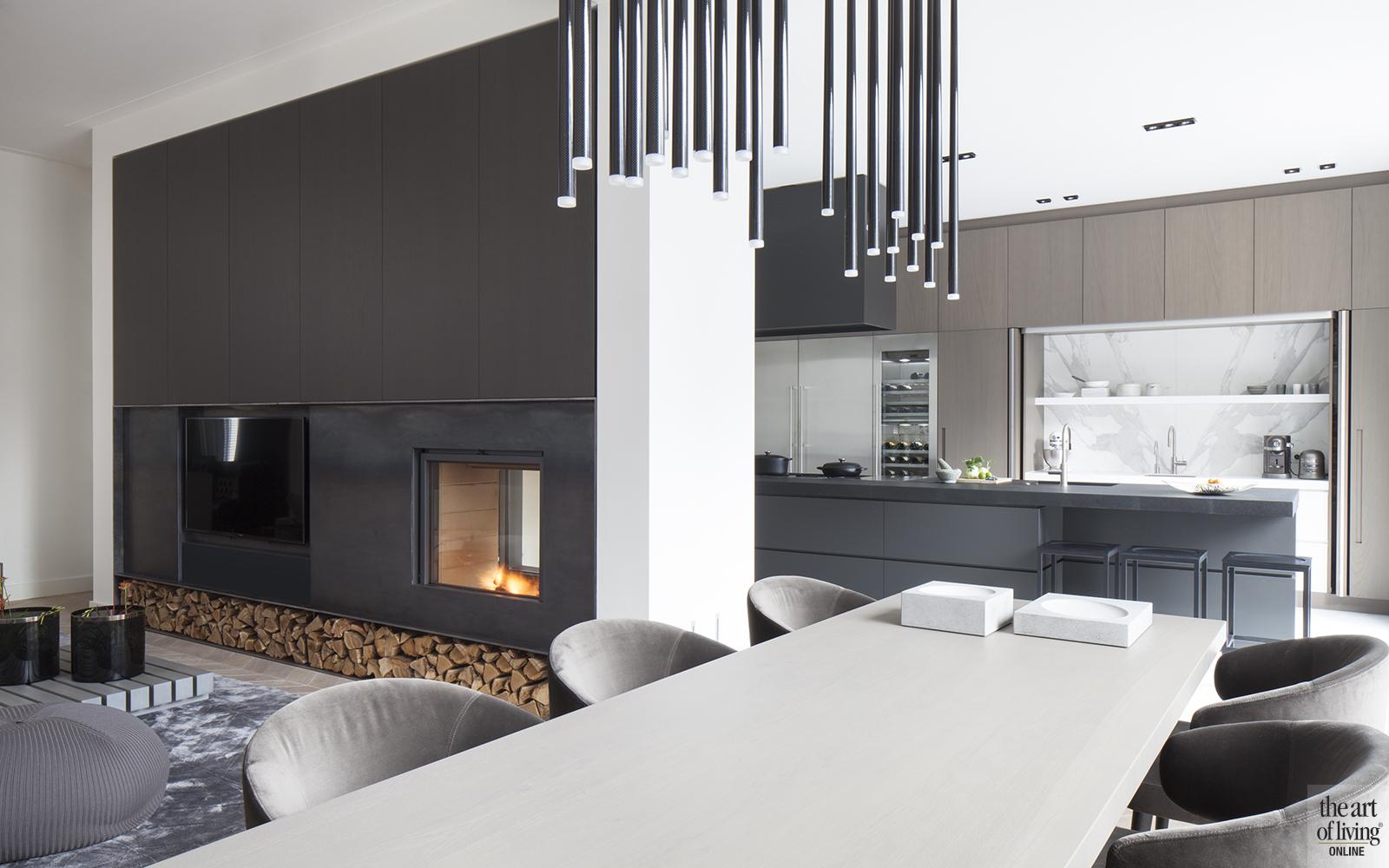 Natuurlijke kleuren, Remy Meijers, Open Haard, Eettafel, Design verlichting, Keuken, Design keuken
