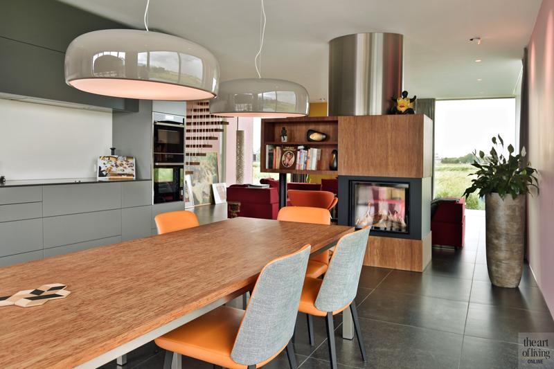 Natuurlijke omgeving, 123DV Architecten, Keuken, Open Keuken, Keuken design, eettafel, Moderne keuken, Strakke keuken, Openhaard, Open haard, Kachel, Haard, Haardmeubel