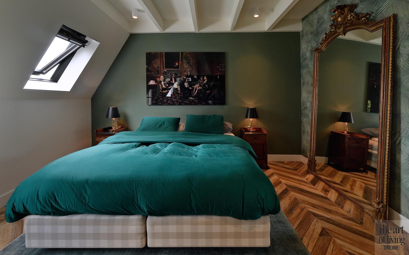 Penthouse, By Thimble, Slaapkamer, masterbedroom, visgraatvloer, warm interieur