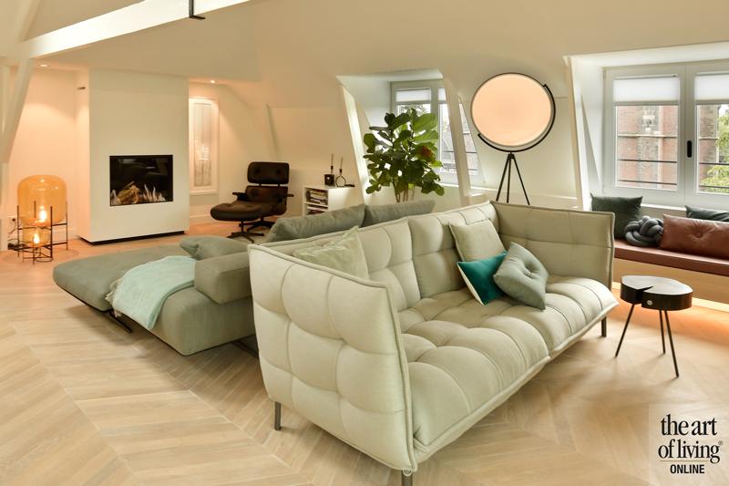 Penthouse, By Thimble, Woonkamer, zithoek, Design meubels, Gezellig interieur, Warme kleuren