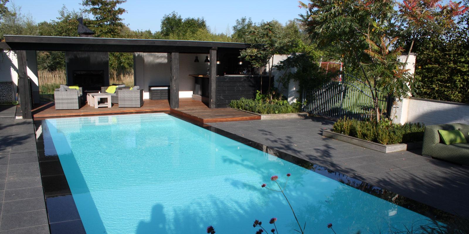 Zwembad in de tuin, Thermostar, binnenzwembad, buitenzwembad, antraciet, luxe, exclusief, zwemmen