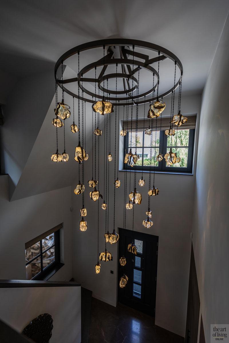 High end interieur, Herman Peters, Hal, Entree, Design verlichting, Lichtarmatuur