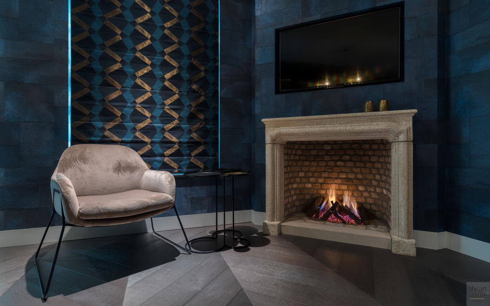 High end interieur, Herman Peters, Openhaard, open haard, Kachel, design meubels, zithoek