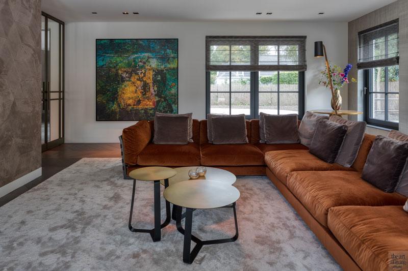 High end interieur, Herman Peters, woonkamer, living, openhaard, open haard, haard, interieurdesign, design meubelen, kunst