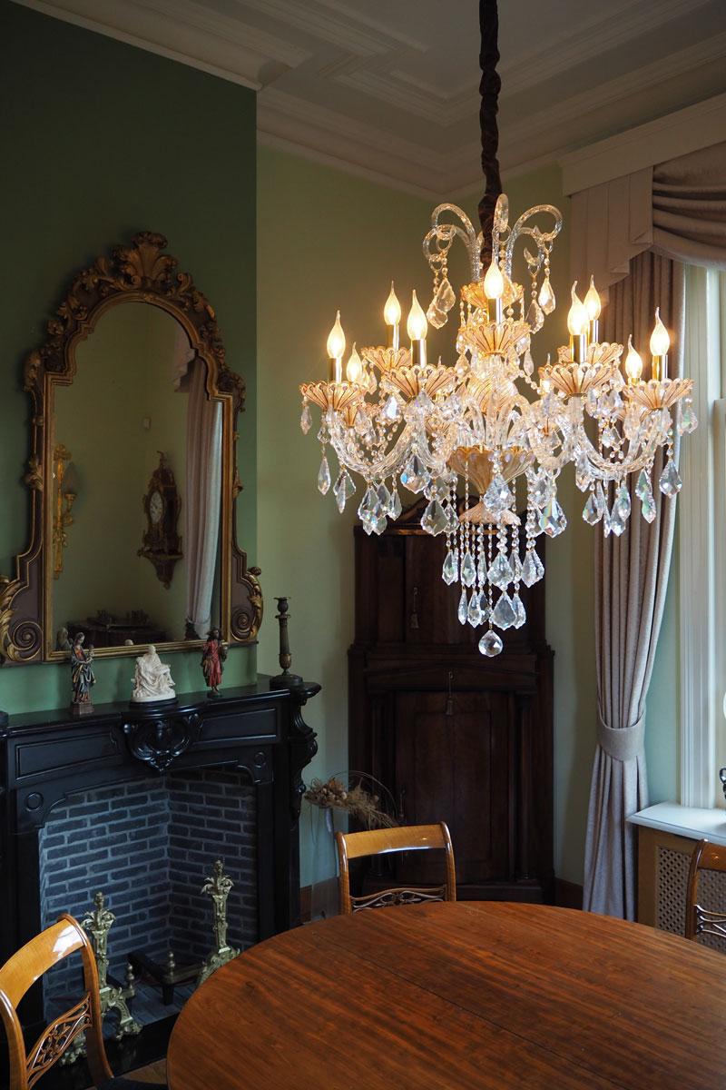 kroonluchter, haagsche kunsthandel, verlichting, exclusief lichtplan, klassieke verlichting, oude villla