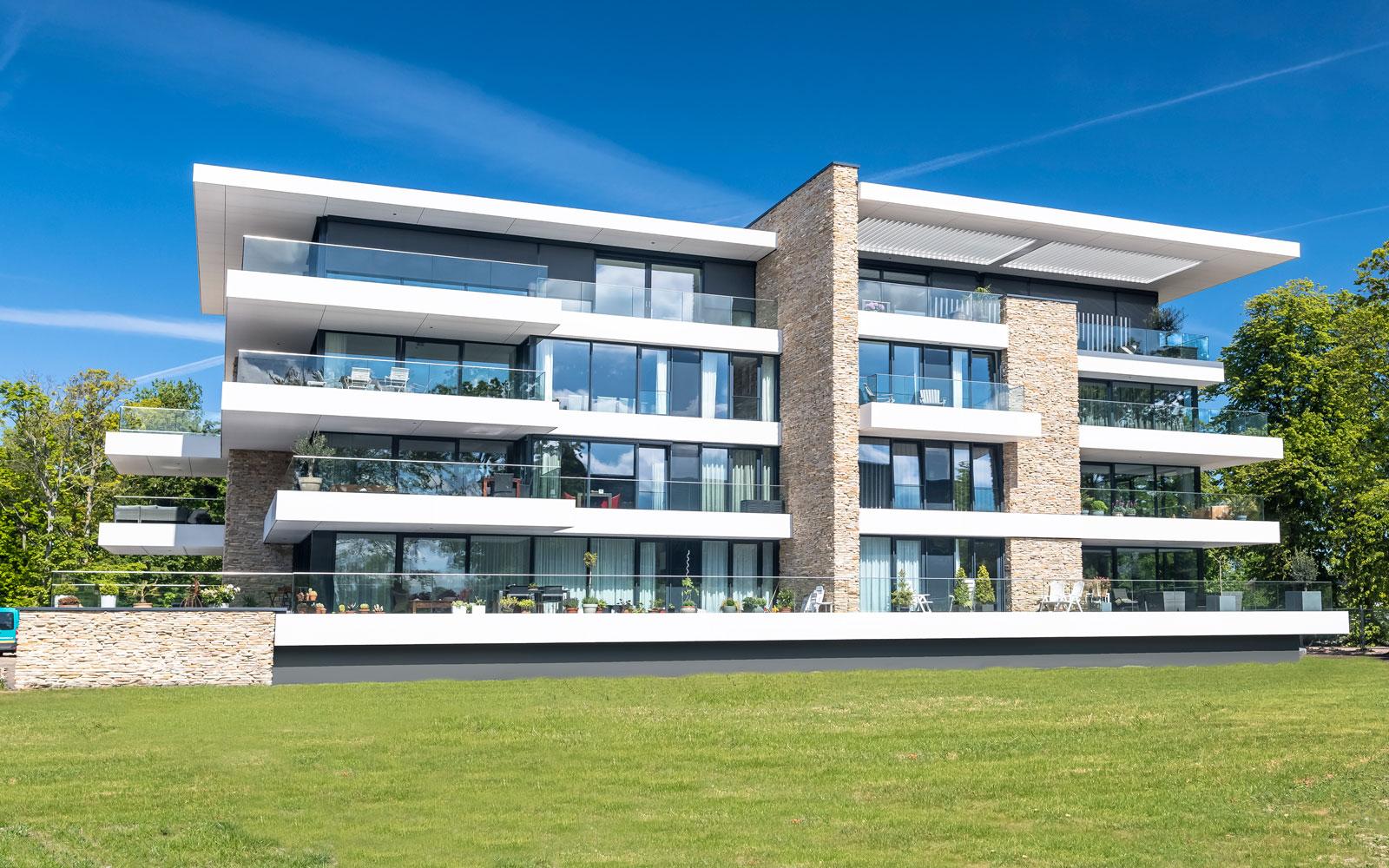natuursteen, natuurgevelsteen, appartementencomplex, exclusief materiaal, prachtig, luxe uitstraling
