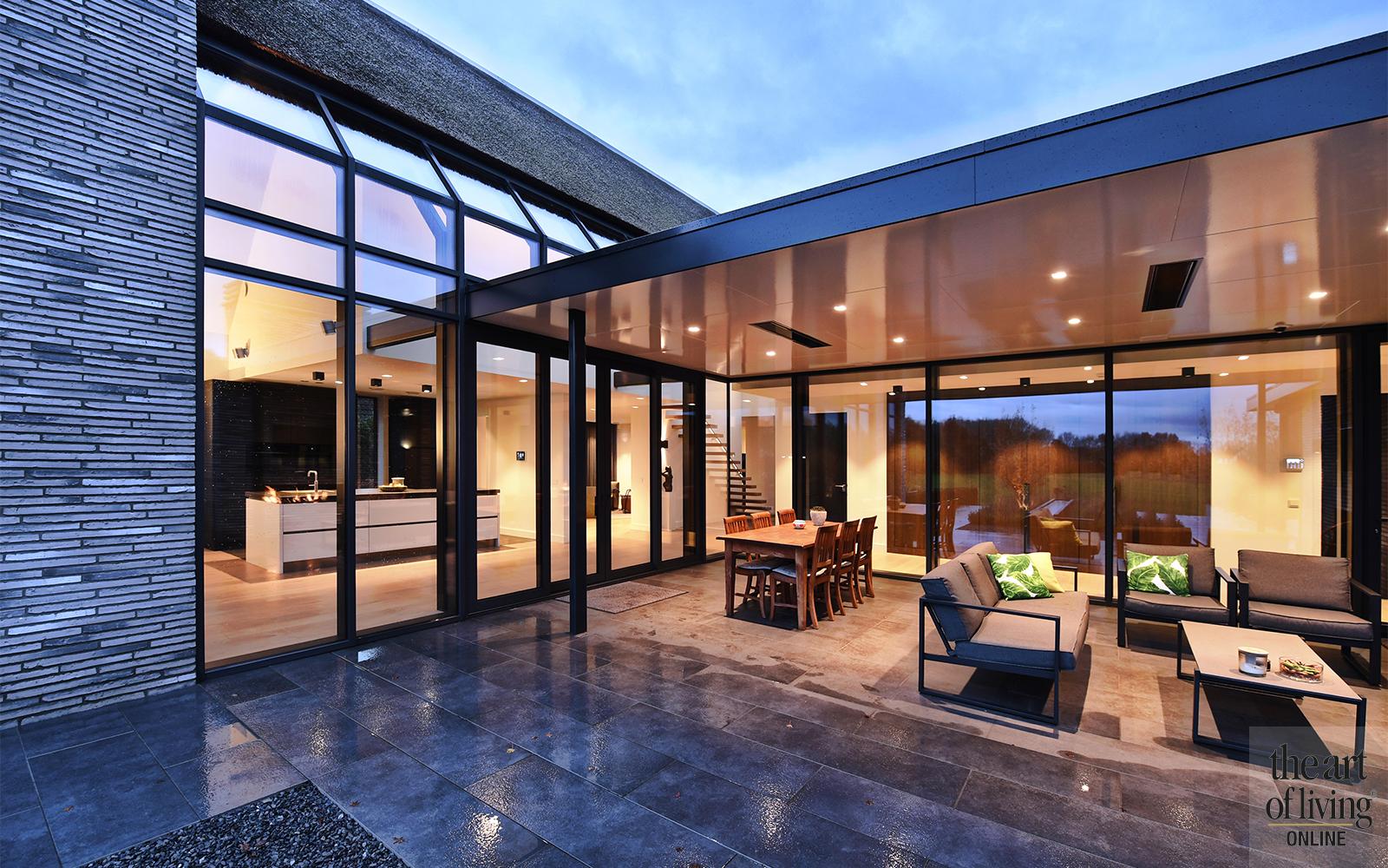 Modern landelijk, villa, uitzicht, landelijk