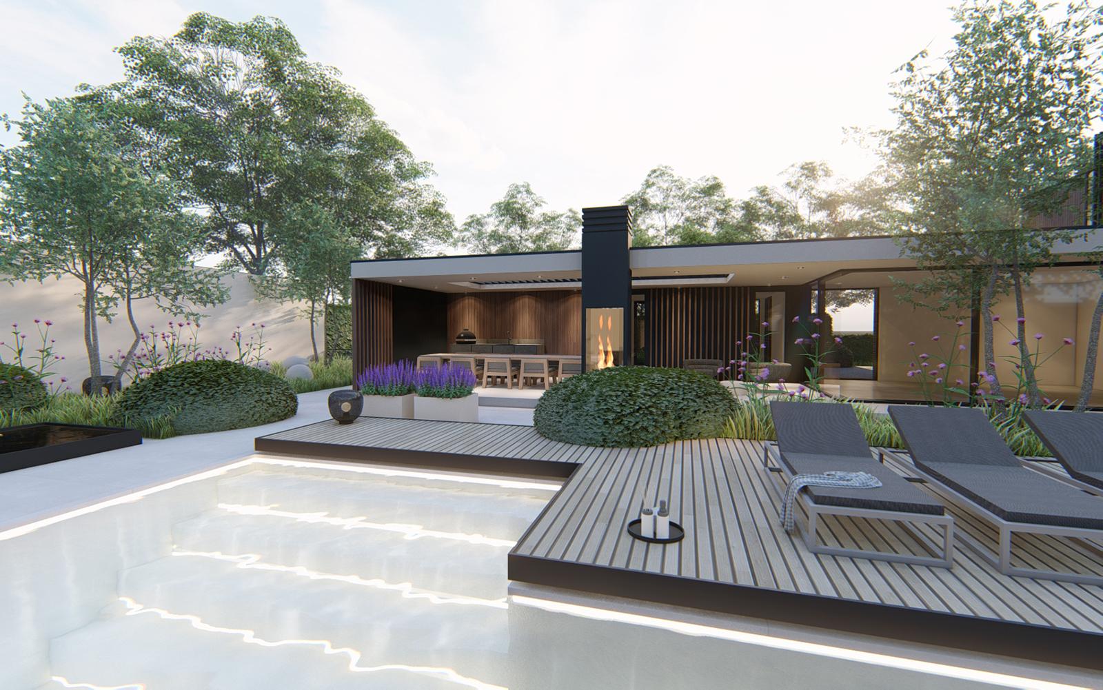 Moderne tuin, Knops Tuindesign, High-end luxe villa, natuurlijke uitstraling