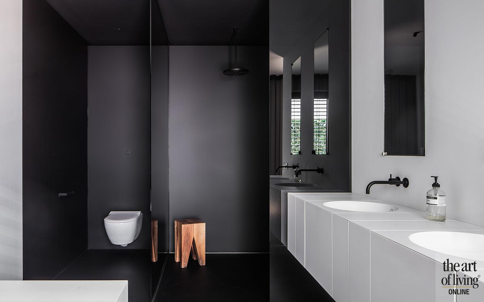 Zwart wit interieur, strak, modern